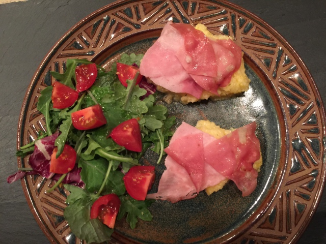 Polenta with deli meat and a salad