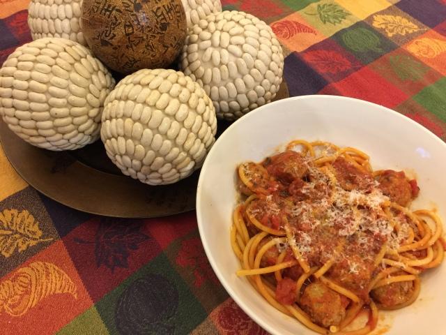 Bucatini and meatballs