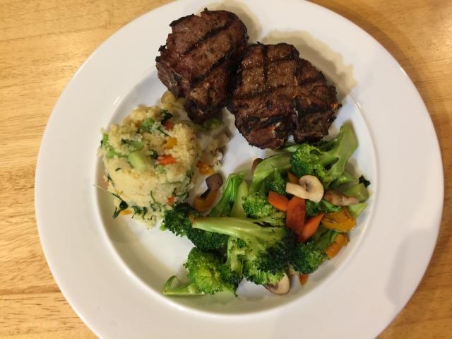 Lamb chops, couscous, and broccoli