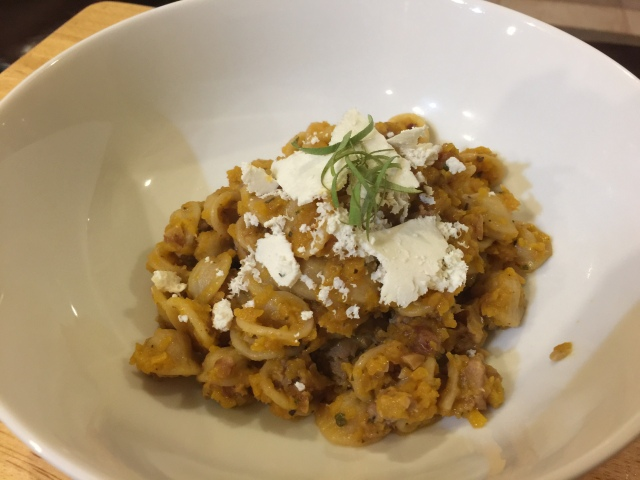 Orrecchiette with butternut squash, walnuts, and ricotta salata