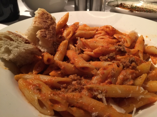 Penne with merguez sausage
