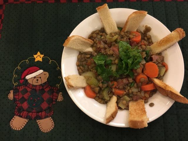 Lentil stew with turkey sausage