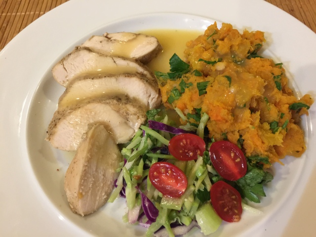 Chicken breast with salad and root vegetable mash