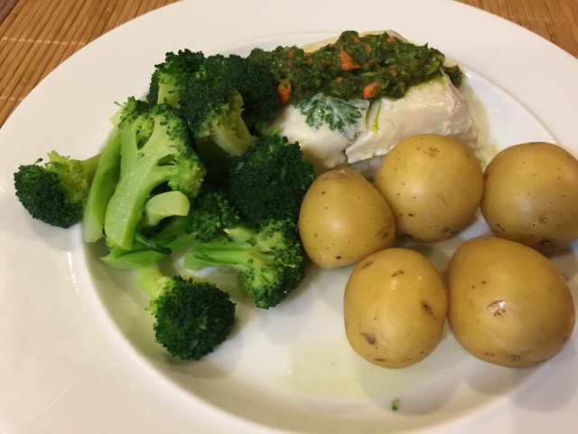 Halibut and parsley sauce with broccoli and screamed new potatoes