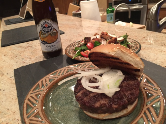 Burger and a salad (and the best beer ever!)