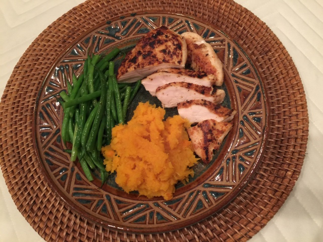 Pan roasted chicken breast with butternut squash and green beans