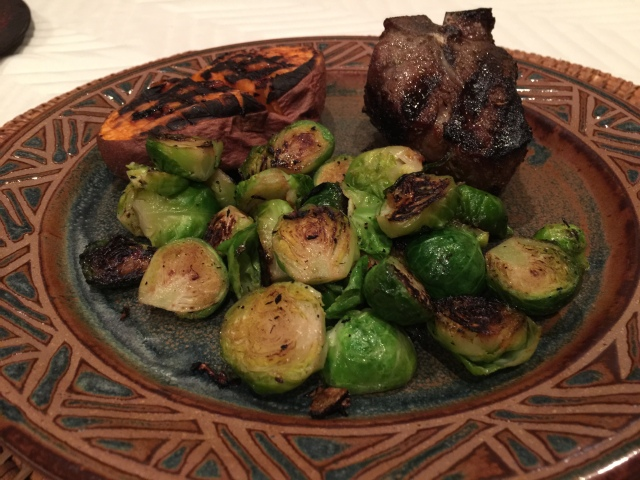 Lamb chop with sweet potato and Brussels sprouts