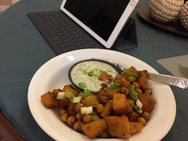 Curried butternut squash and chickpeas