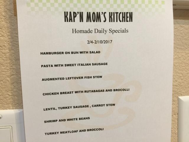 Kap'n Mom's Kitchen Menu