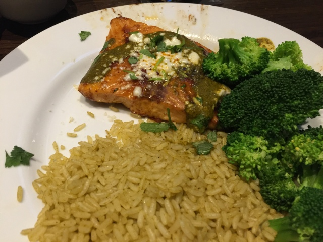 Chili's ancho salmon with citrus rice and steamed broccoli
