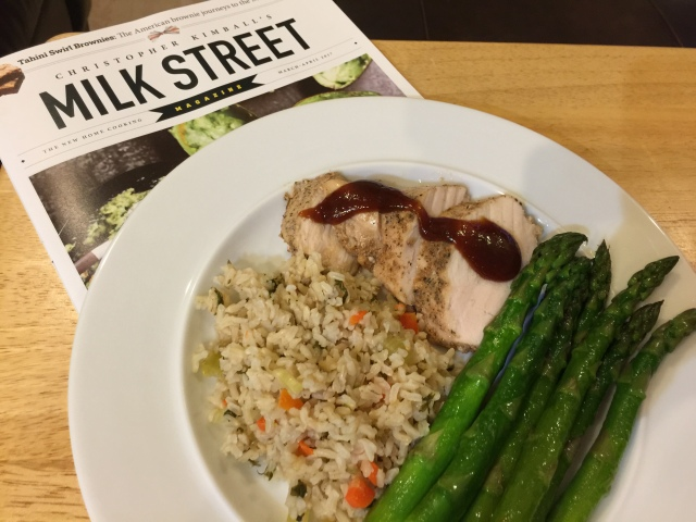 Chicken with rice and asparagus (plus the new issue of Milk Street!)