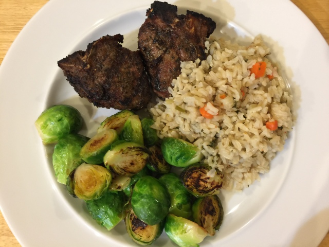 Lamb chops with Brussels sprouts and rice