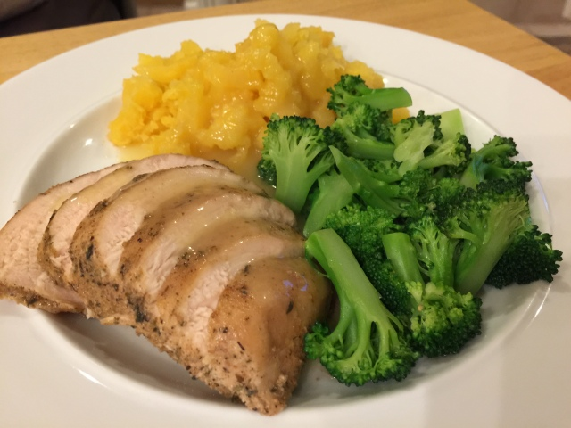 Sous vide chicken breast with broccoli and rutabagas