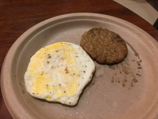 Weird egg and greasy sausage